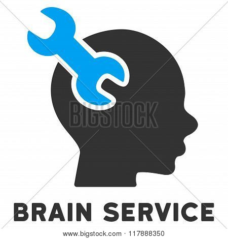 Brain Service Flat Icon with Caption