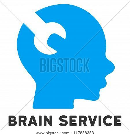 Brain Service Flat Icon with Caption
