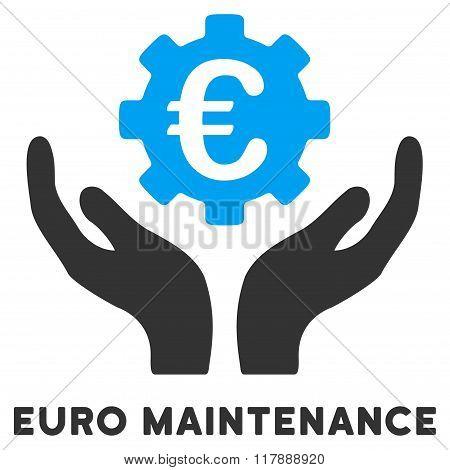 Euro Maintenance Flat Icon with Caption