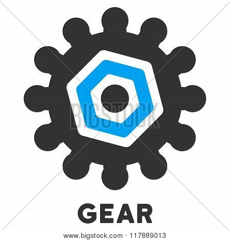 Gear Flat Icon with Caption