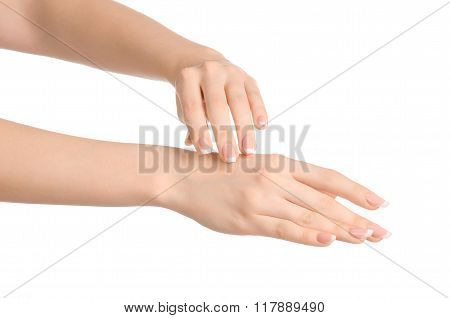 Health And Body Care Theme: Beautiful Female Hand With White Cream Isolated On A White Background, H