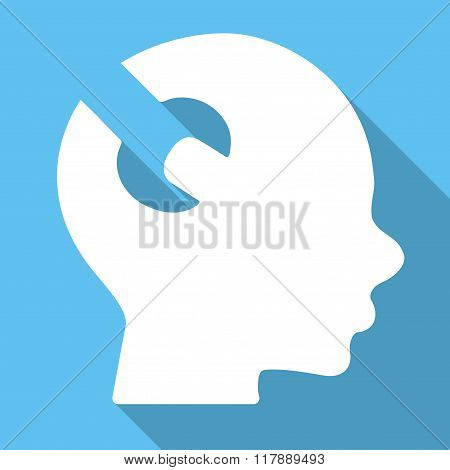 Brain Service Flat Square Icon with Long Shadow