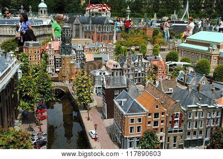 Tourists wandering around in Madurodam, the Netherlands