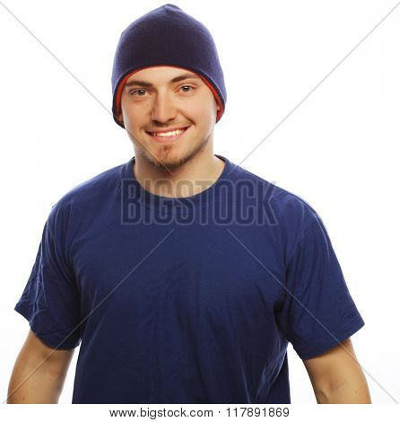 man in blue t-shirt and blue hat.