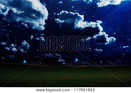 green night field. star sky