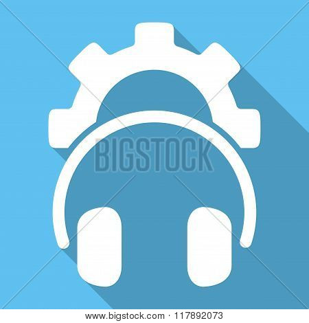 Headphones Configuration Flat Square Icon with Long Shadow