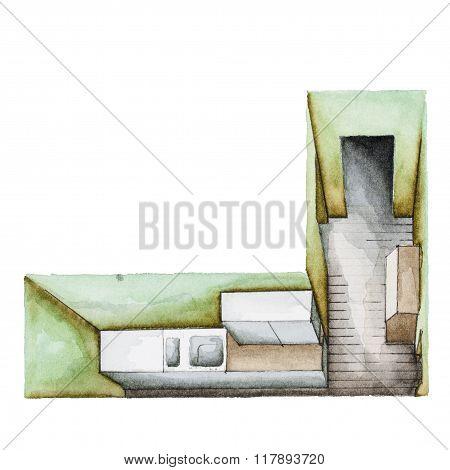 Watercolor kitchen floor plan