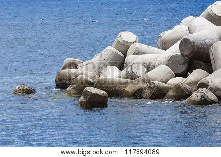 Concrete Block Breakwater Hit By The Atlantic Waves