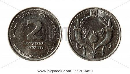 Modern Israeli Coins On The White Background (2 Sheqel)