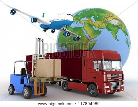 Airliner with a globe and auto loader with boxes. 3d image on a white background