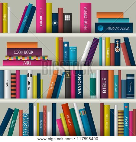 Book Shelf. Realistic Vector Illustration.