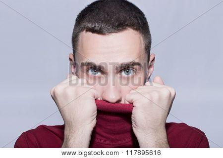 Man peeking