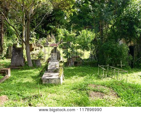 Old Abandoned Cemetery In Ruins Of Jesuit Missions In Argentina