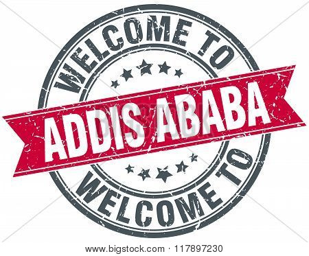 Welcome To Addis Ababa Red Round Vintage Stamp