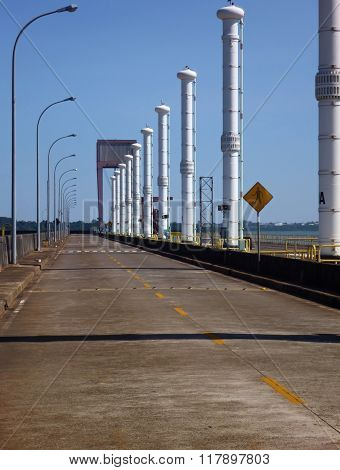 Road On The Top Od Itaipu Binacional Dam At Rio Parana
