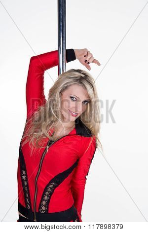 Young Slim Pole Dance Blond Woman Holding Pole And Smiling