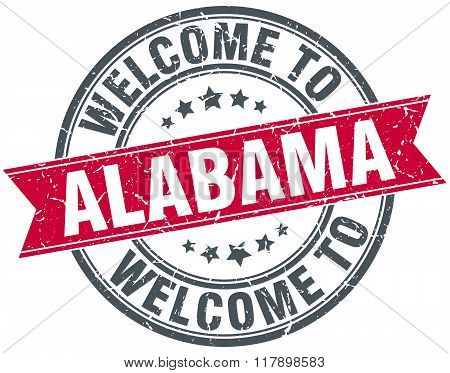 Welcome To Alabama Red Round Vintage Stamp