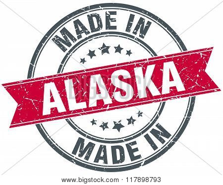 made in Alaska red round vintage stamp