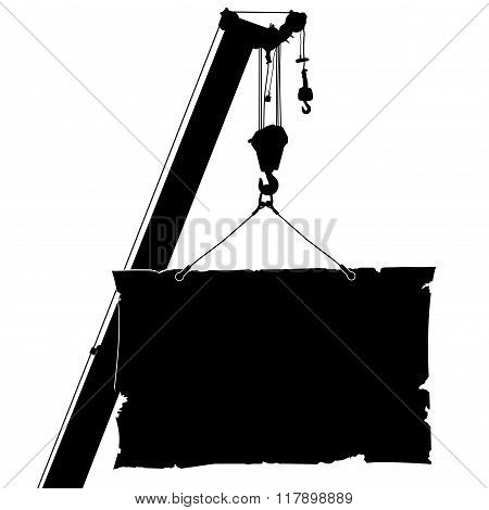 Autocrane lifts the poster. Vector illustration.