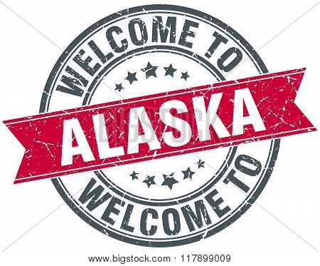 welcome to Alaska red round vintage stamp