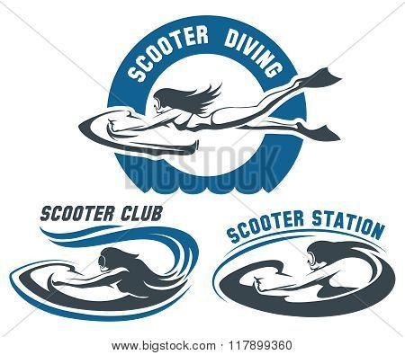 Scooter Diving Club Emblem Set