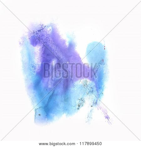 ink abstract watercolor blot splash watercolour isolated blue purple on white background