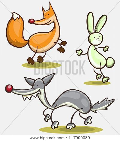 Abstract Set Of Wild Animals - Fox, Hare, Wolf