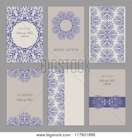 Vector Set Of Vintage Cards  Templates Editable. Wedding Invitation ?ard, Save The Date Cards.
