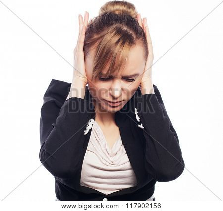 Businesswoman terrified hold hand on head