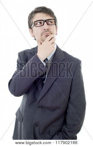 young business man thinking, isolated on white