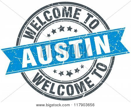 welcome to Austin blue round vintage stamp