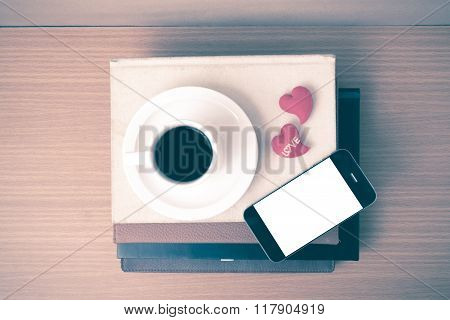 Coffee,phone,stack Of Book And Heart