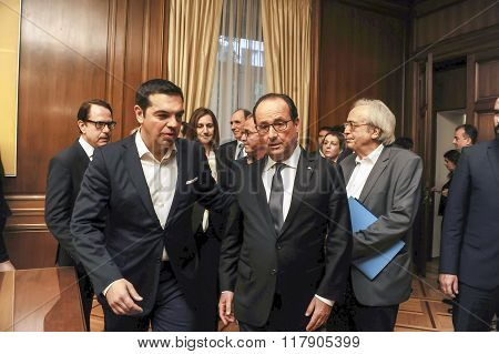 Prime Minister Alexis Tsipras And The President Of France Francois Hollande During Their Meeting At