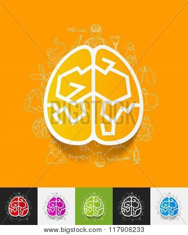 brain paper sticker with hand drawn elements