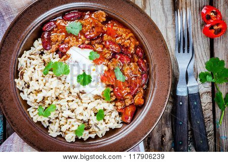 Homemade Chili With Beans And Wild Rice Closeup
