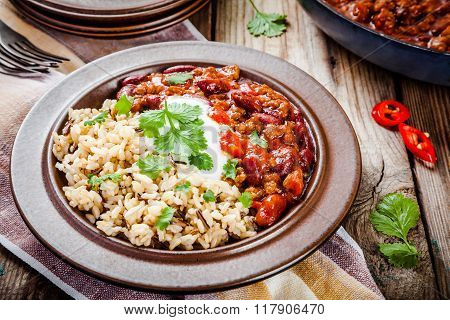 Homemade Chili With Beans And Wild Rice