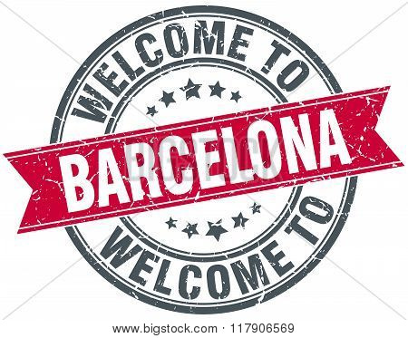 welcome to Barcelona red round vintage stamp