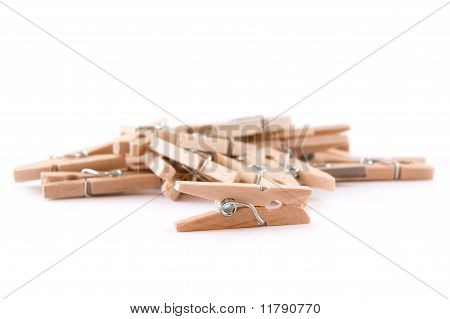 Pegs on a White Background