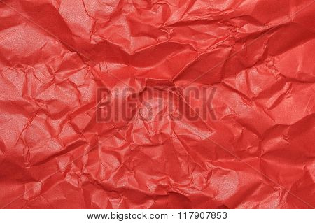 crumpled wrinkled red gloss paper texture background