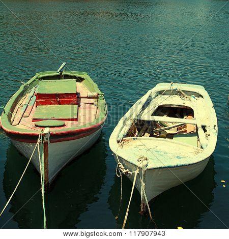 Old Fishing Boats In Harbor Of Agios Nikolaos, Crete, Greece.