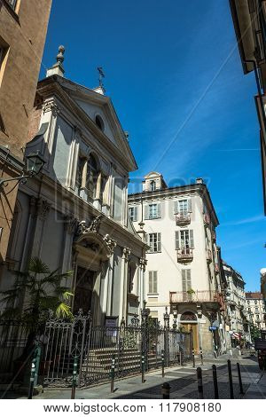 Houses and church in the Quadrilatero, Turin, Italy
