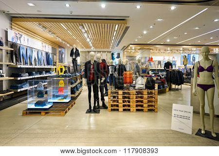 HONG KONG - JANUARY 27, 2016: interior of Calvin Klein store at Elements Shopping Mall. Calvin Klein Inc. is an American fashion house founded by the fashion designer Calvin Klein.