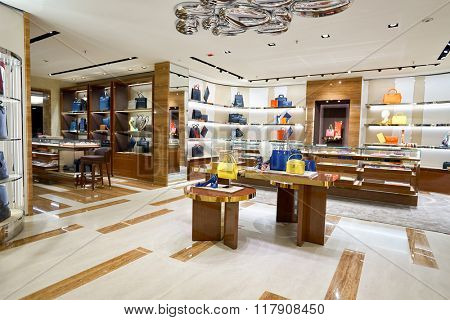 HONG KONG - JANUARY 27, 2016: interior of Salvatore Ferragamo store at Elements Shopping Mall. Elements is a large shopping mall located on 1 Austin Road West, Tsim Sha Tsui, Kowloon, Hong Kong