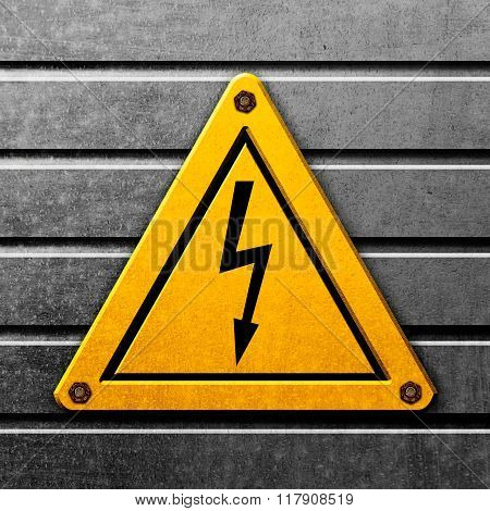 Yellow Sign  High Voltage