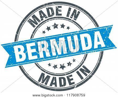 made in Bermuda blue round vintage stamp