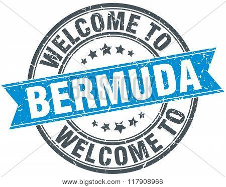 welcome to Bermuda blue round vintage stamp