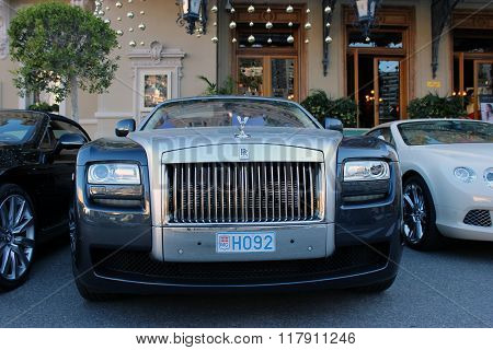 Luxury Rolls Royce Phantom Parked In Front Of The Monte-carlo Casino
