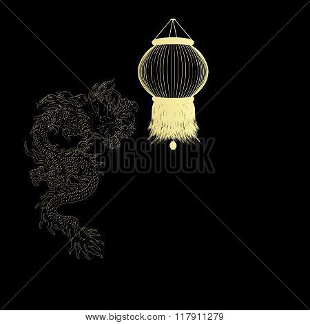 Golden Chinese Dragon On A Black Background