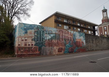 Mural: Bluff Street Architecture in 1840