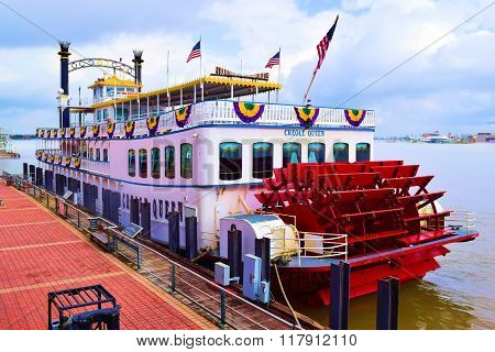 February 2, 2016 in New Orleans, LA:  Historic Creole Queen Paddlewheeler which is a riverboat that cruises tourists on the Mississippi River and has been christened into service during 1983 which is docked at the Port of New Orleans in Downtown New Orlea